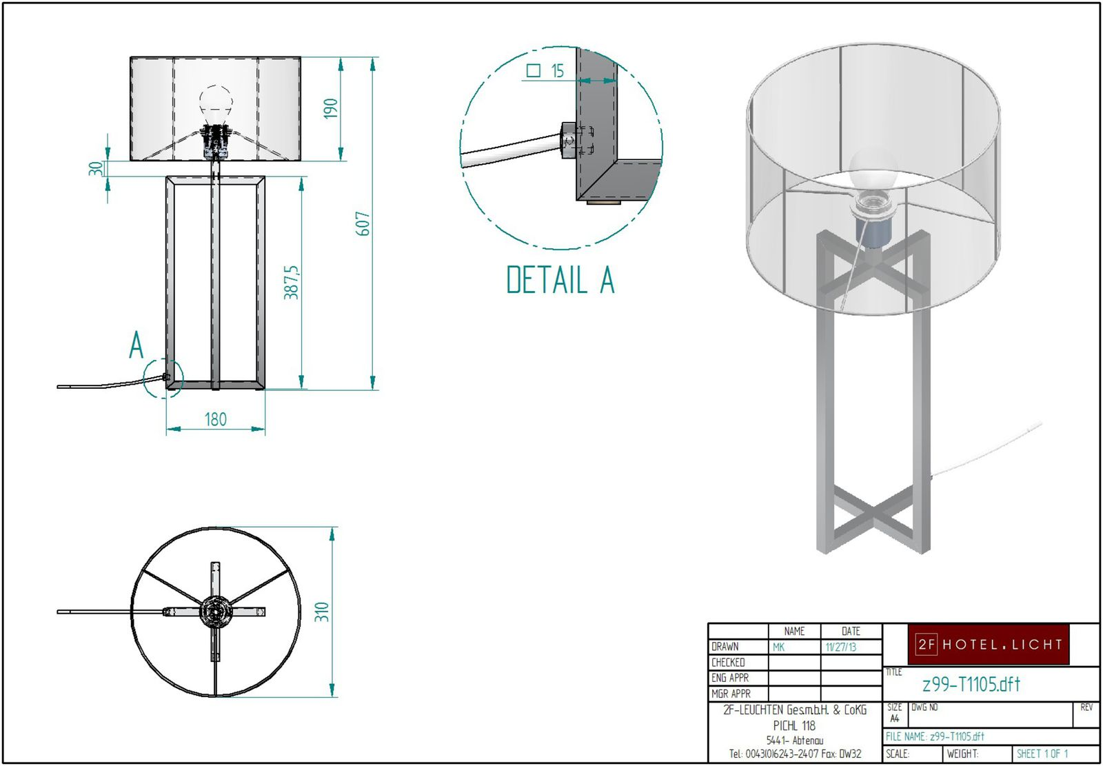 table lamp, lenght diameter=310mm, height=600mm, surface: chrome, techn. details: 1xE 27, 42W
