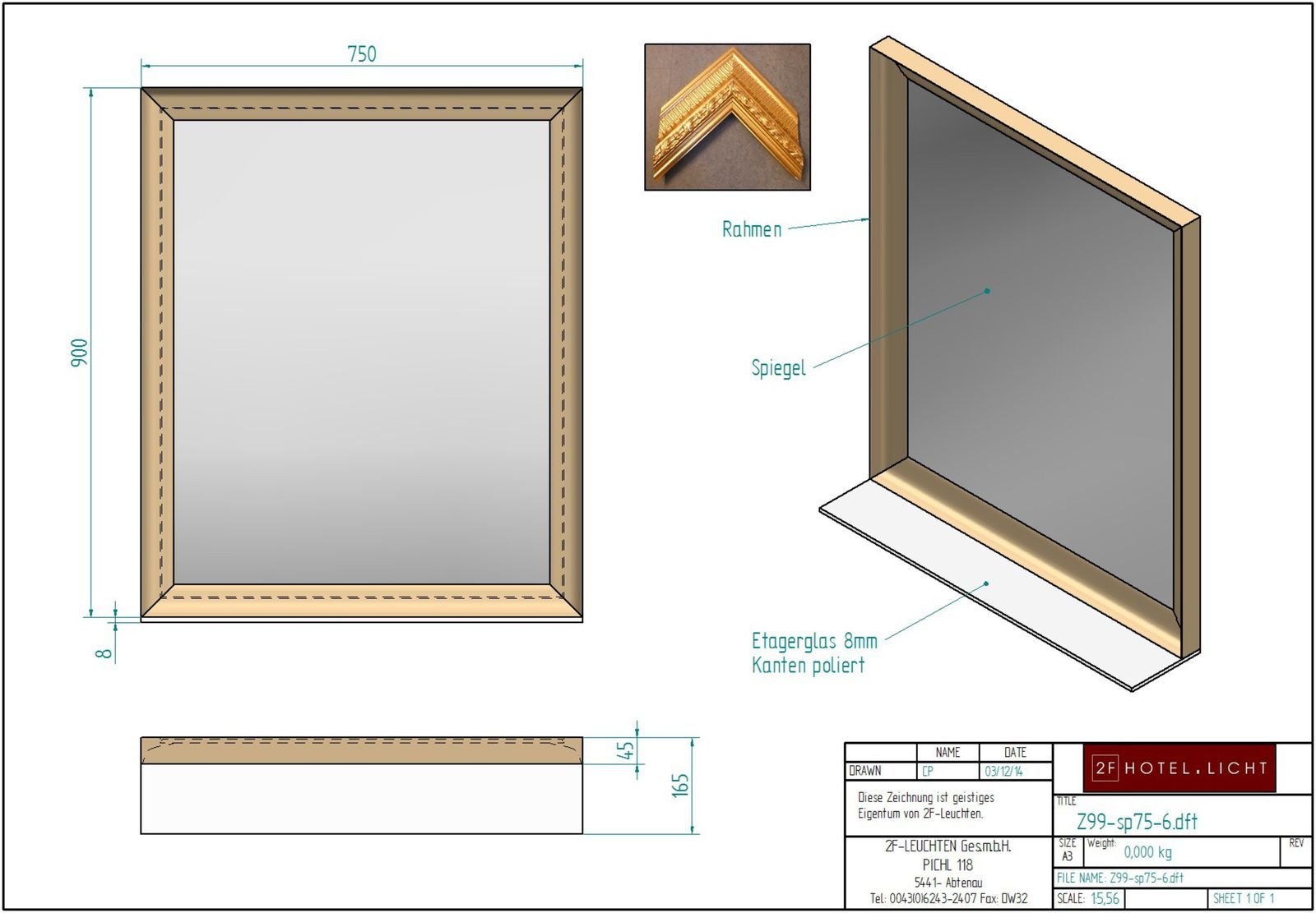 mirror, height=1100mm, wide=900mm, surface: wood in gold/silver antique, techn. details: E27, 40W
