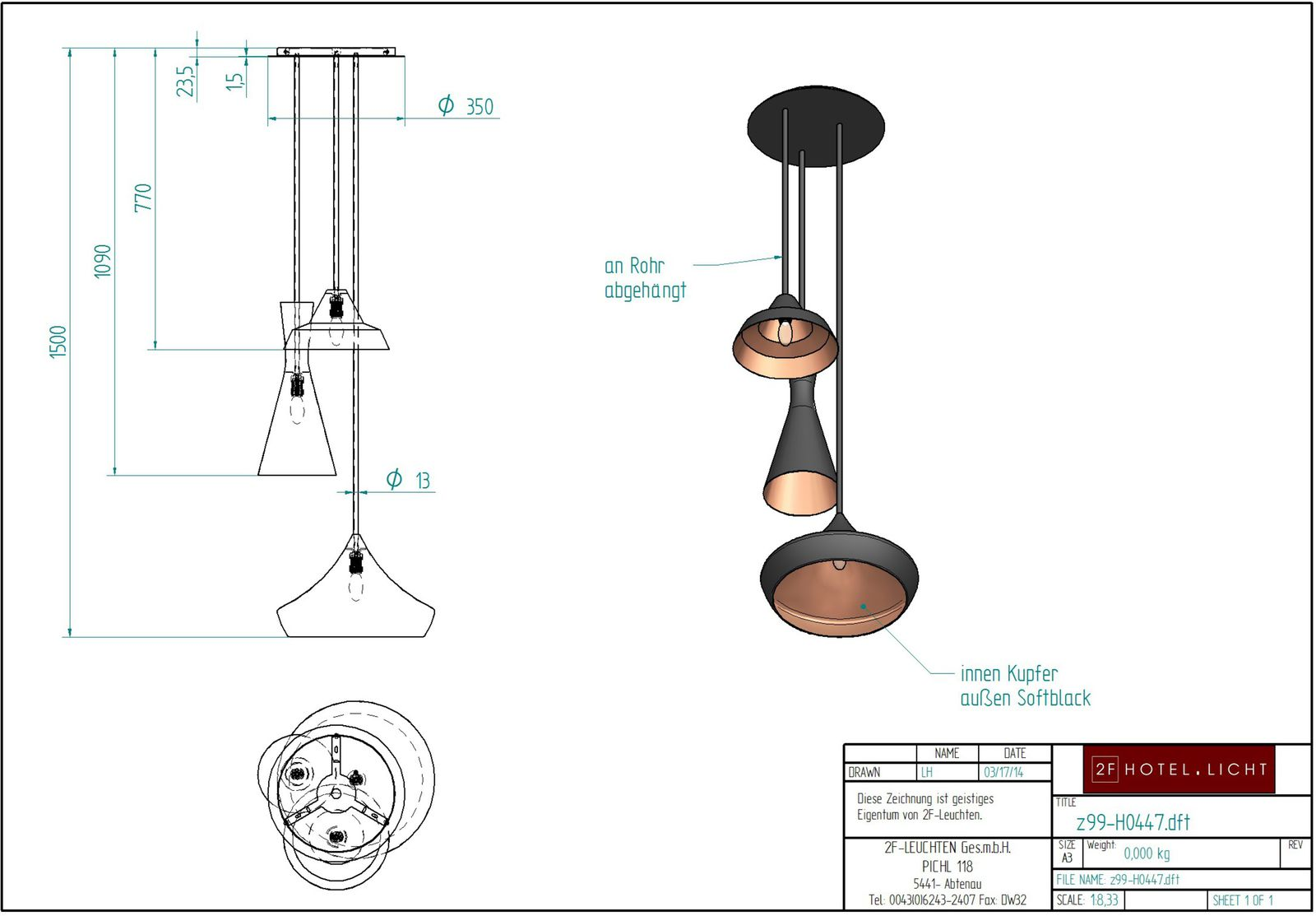Ciling Lamp with 3 different metal-shades, L:~500mm, H:1500mm, surface: Metall inside copper / outside softblack, techn. Data: 3xE14,40W