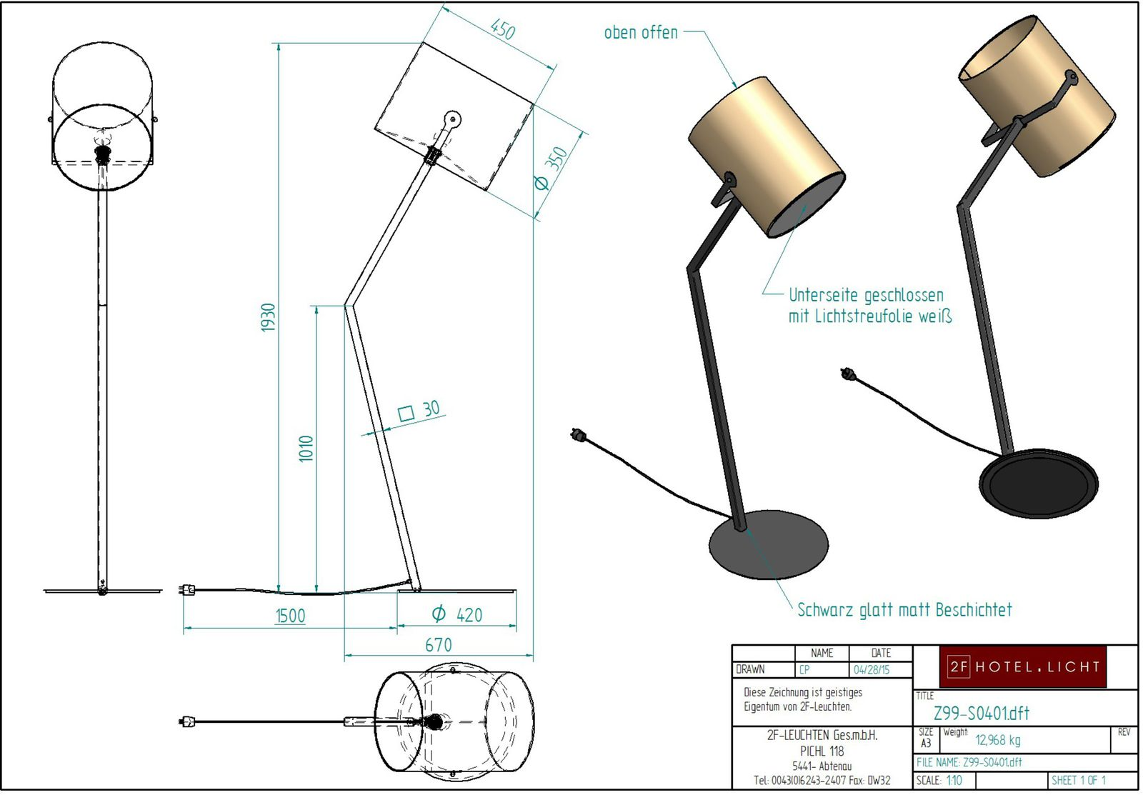Floor Lamp, L:640mm, wide:420mm, H:1890mm, surface: Metal: SWM black, techn. Data: 1xE27, 75W, 230V A60, cable colour: black