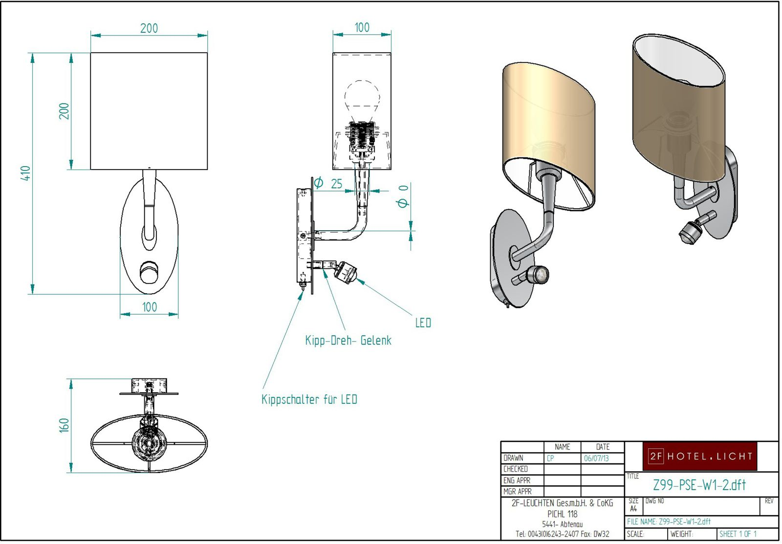 ceiling lamp Pure Seed, lenght=160mm, wide=200mm, height=465, surface: brushed brass, techn. details: 1xE27, max. 40W/230V + 2W LED 700mA