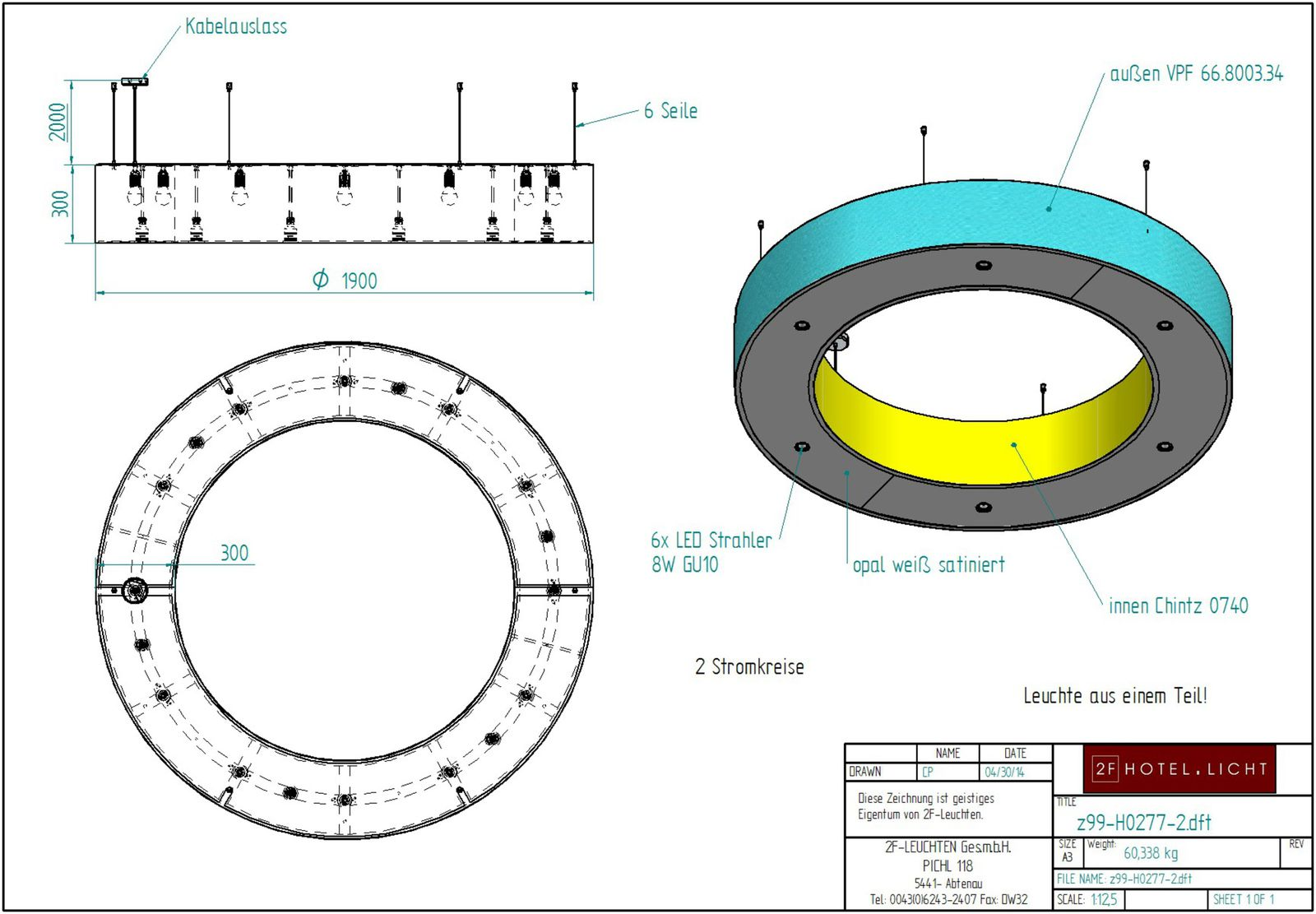 Pendant lamp, diameter=800mm, 600mm, techn. details: 12x9W Power LED