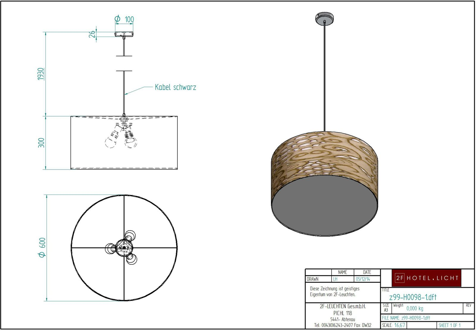 pendant lamp, height=2000mm, surface: brushed nickel, 3xE27, 42W energy saving bulb
