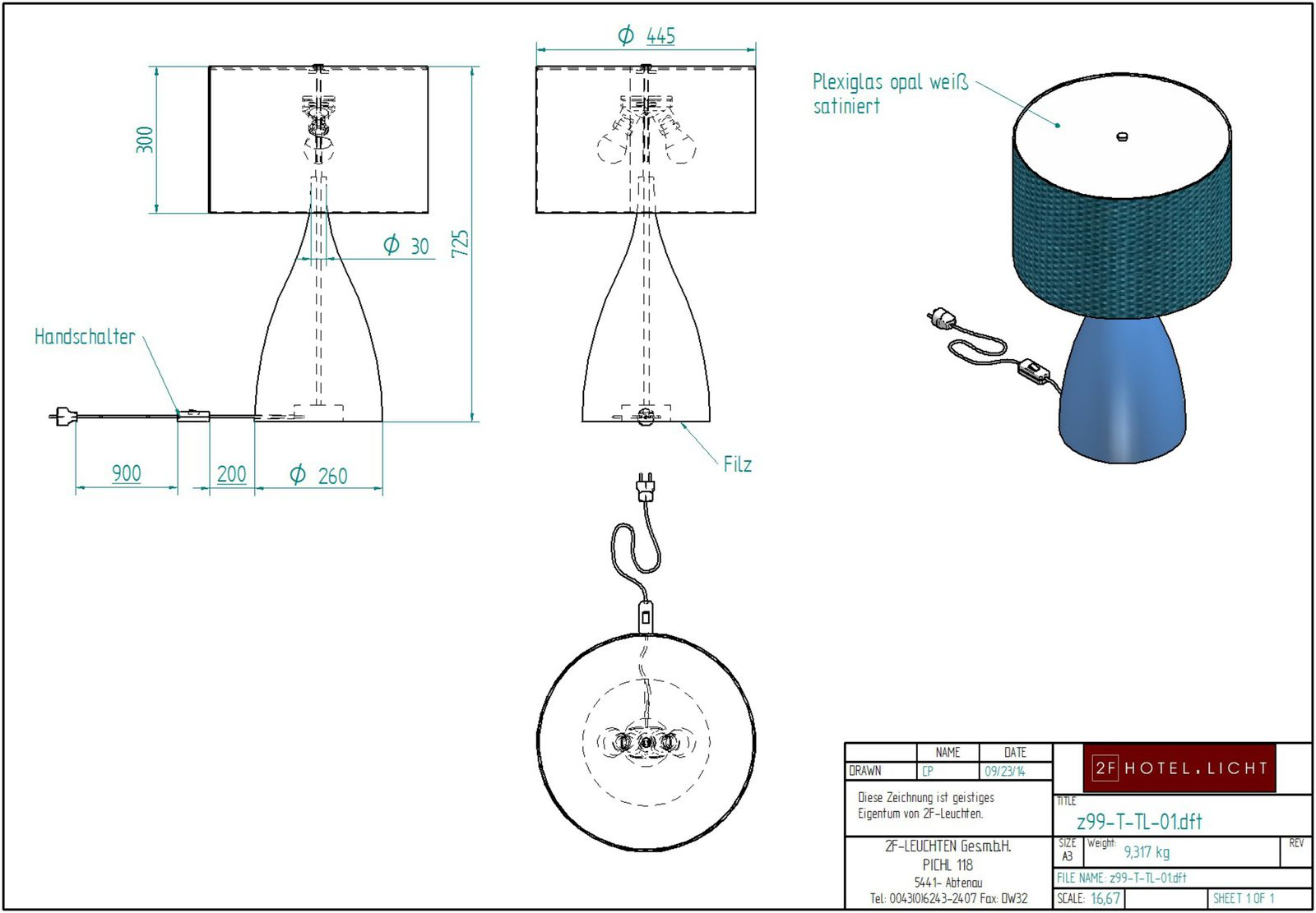 Table lamp, L= Ø450mm, H=725mm, surface metal: RAL Design 2105040, Material: wood, techn. Data: 2xE27, 18W, 230V, cable: white