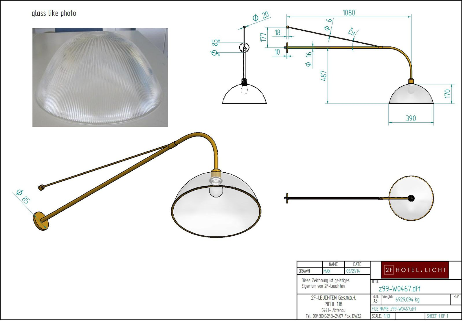 wall lamp, glass with rills, L:1275mm, wide:390mm, h:684mm, surface: dark bronze MBD, 1xE27, 60W