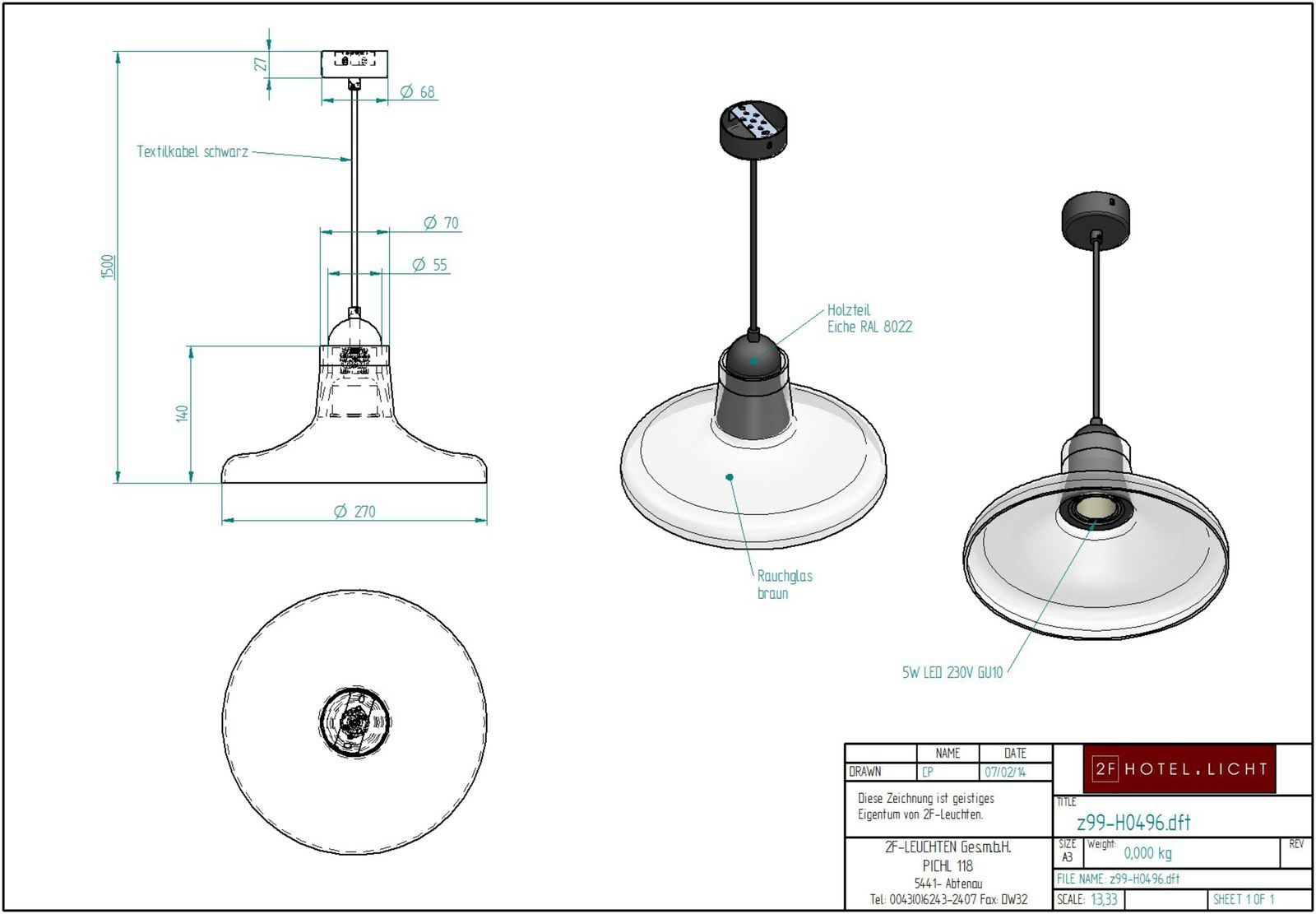 Pendant Lamp, L:Ø270mm, H:1500mm, surface: Metal, SWM black, techn. Data: 1xGU10, 5W LED 230V, cable colour: black