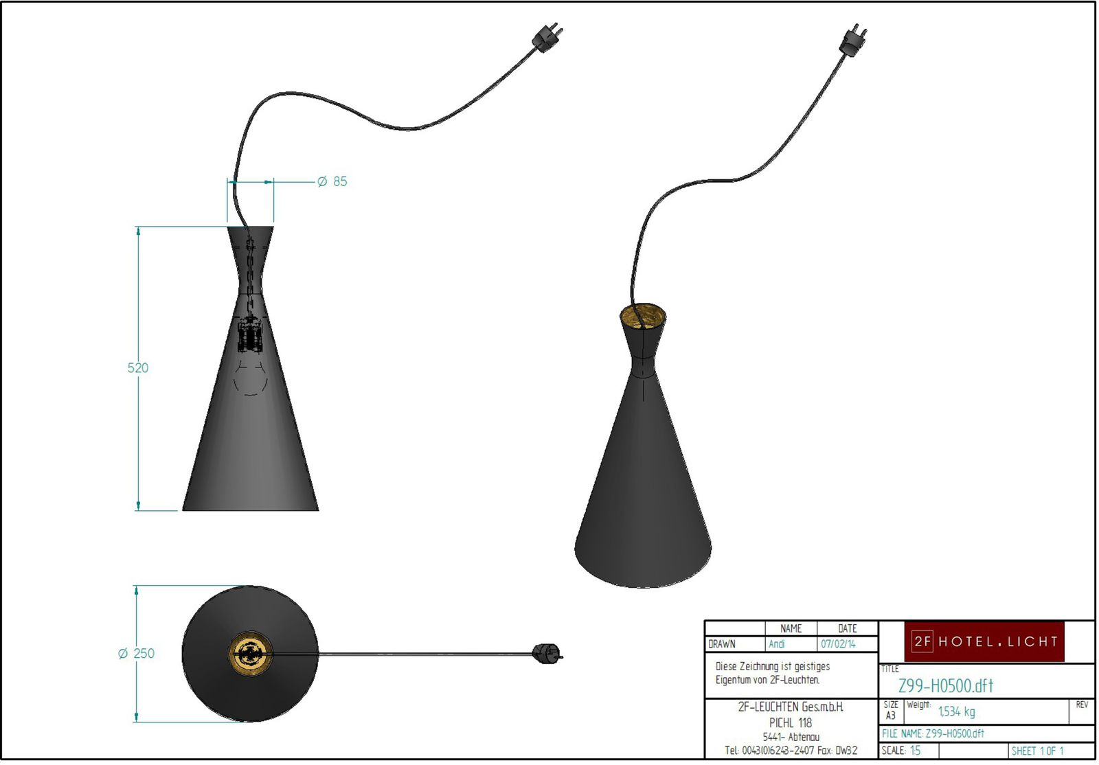 Pendant Lamp, L:Ø250mm, wide:Ø250mm, H:520mm, surface: Metall outside NCS8505-R2=B, inside trash metal, techn. Data: 1xE27, 8,5W LED, cable length: 6m, colour black