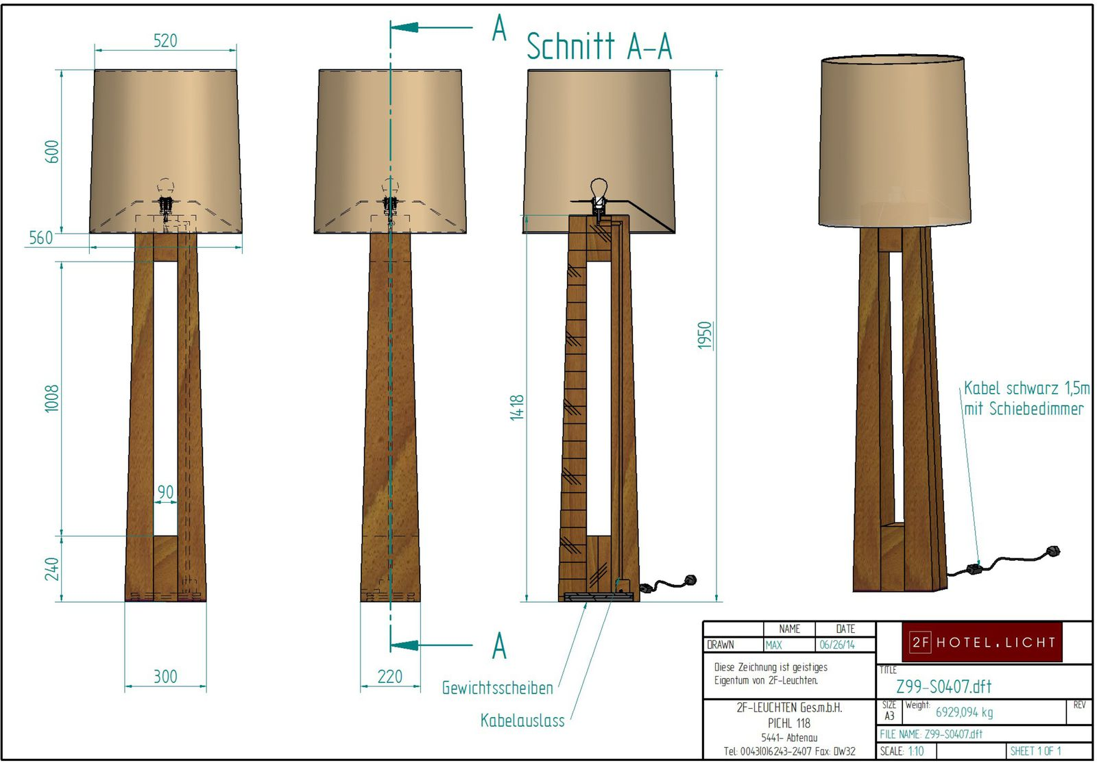 Floor Lamp, L:300mm, wide:220mm, H1950mm, surface: Metal: CM Nickel brushed, techn. Data: 1x27, 72W, A60, 230V, cable colour: black, 1,5m L