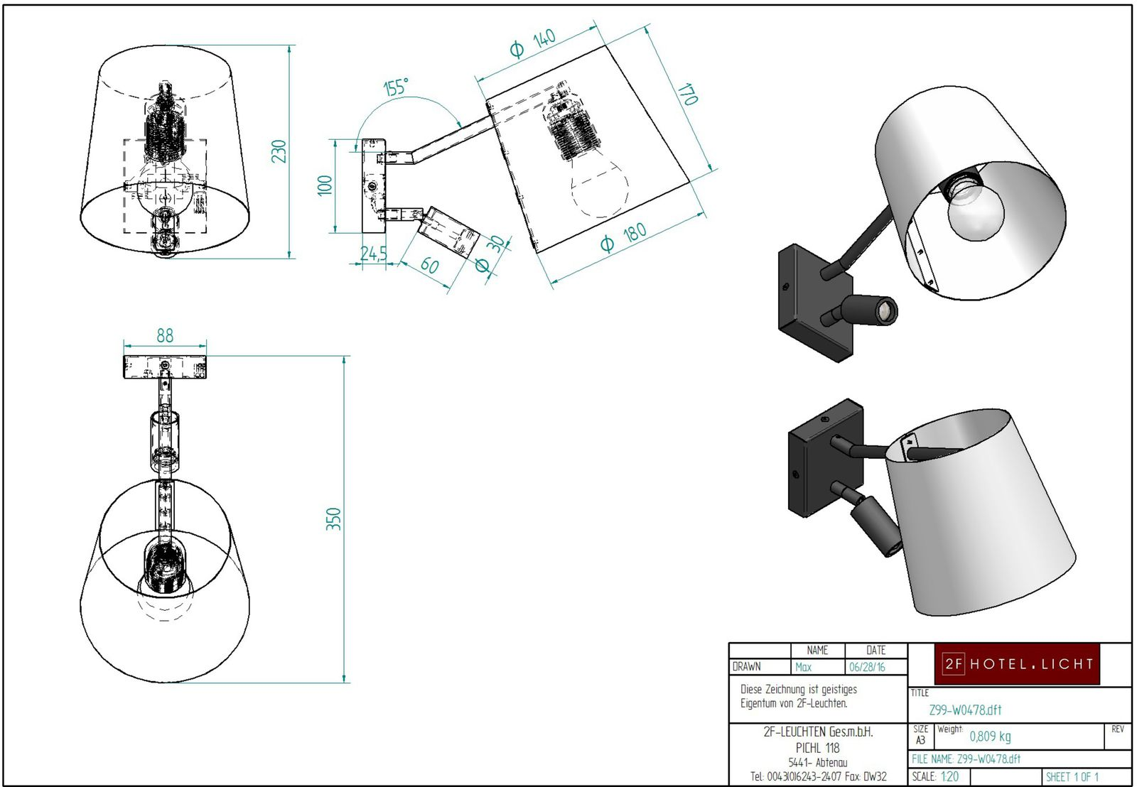 Wall lamp, L=336mm, H=180mm, surface: metal, SWF black, techn. Data: 1xE27, 42W A60