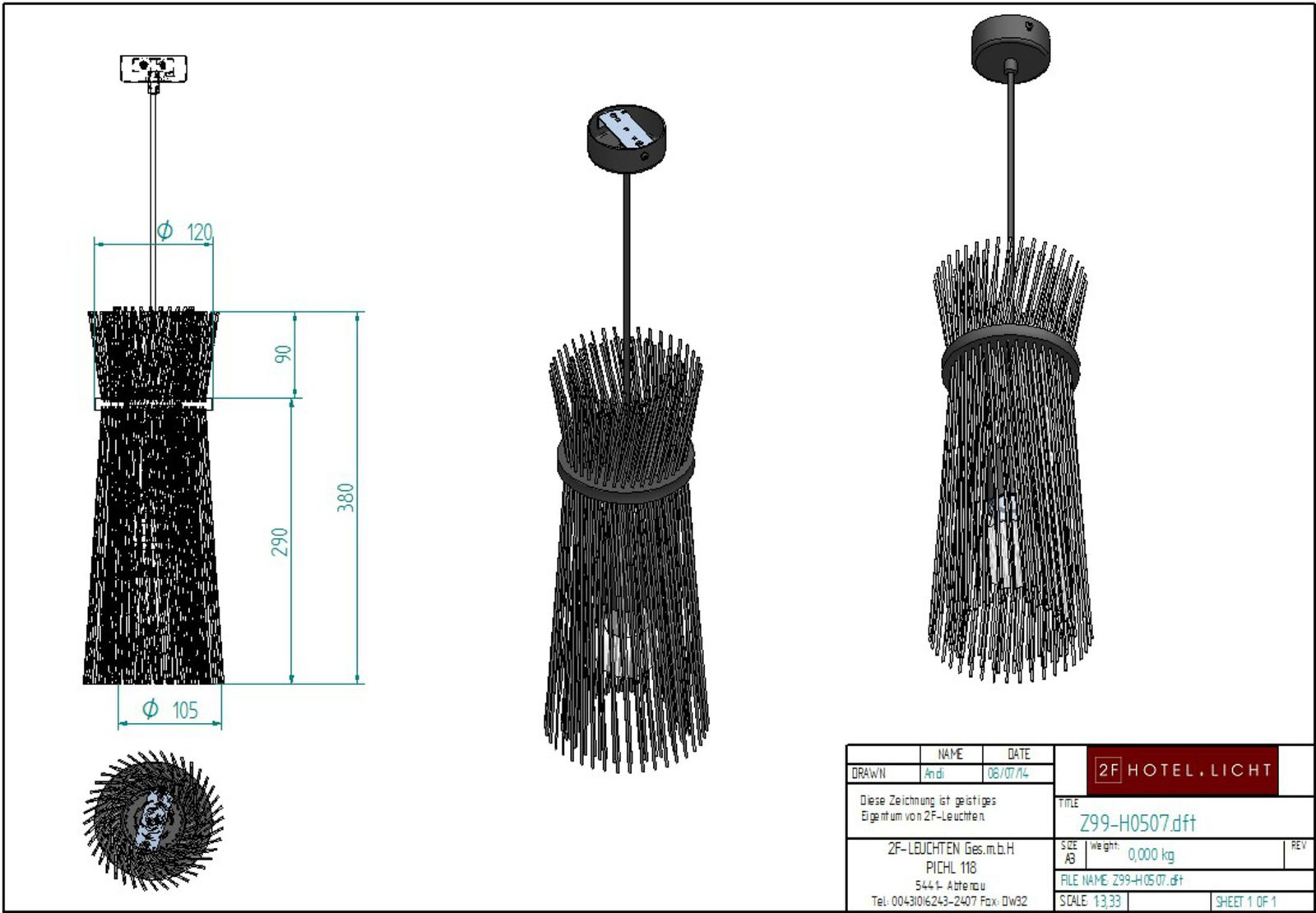 pendant, lenght=120mm, height:1000mm, surface: metal, MB, techn. Data: 1xE27, 60W, cable colour: black
