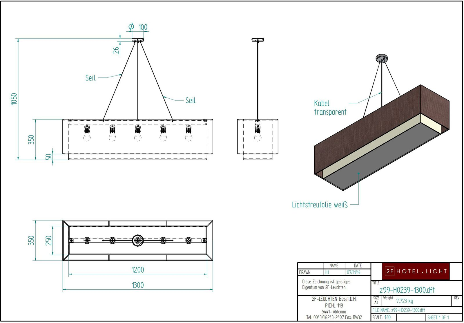Pendant lamp, lenght=2000mm, height complete=900mm, techn. details: 2xT5 80W, dali dimmbar