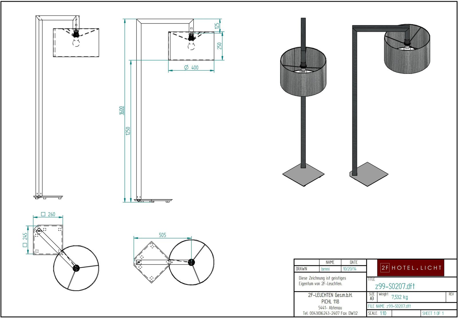 Floor lamp, lenght=600mm, wide=400mm, Height=1600mm, surface: metall - Alu, techn. Data: 1xE27, LED, 8,5W