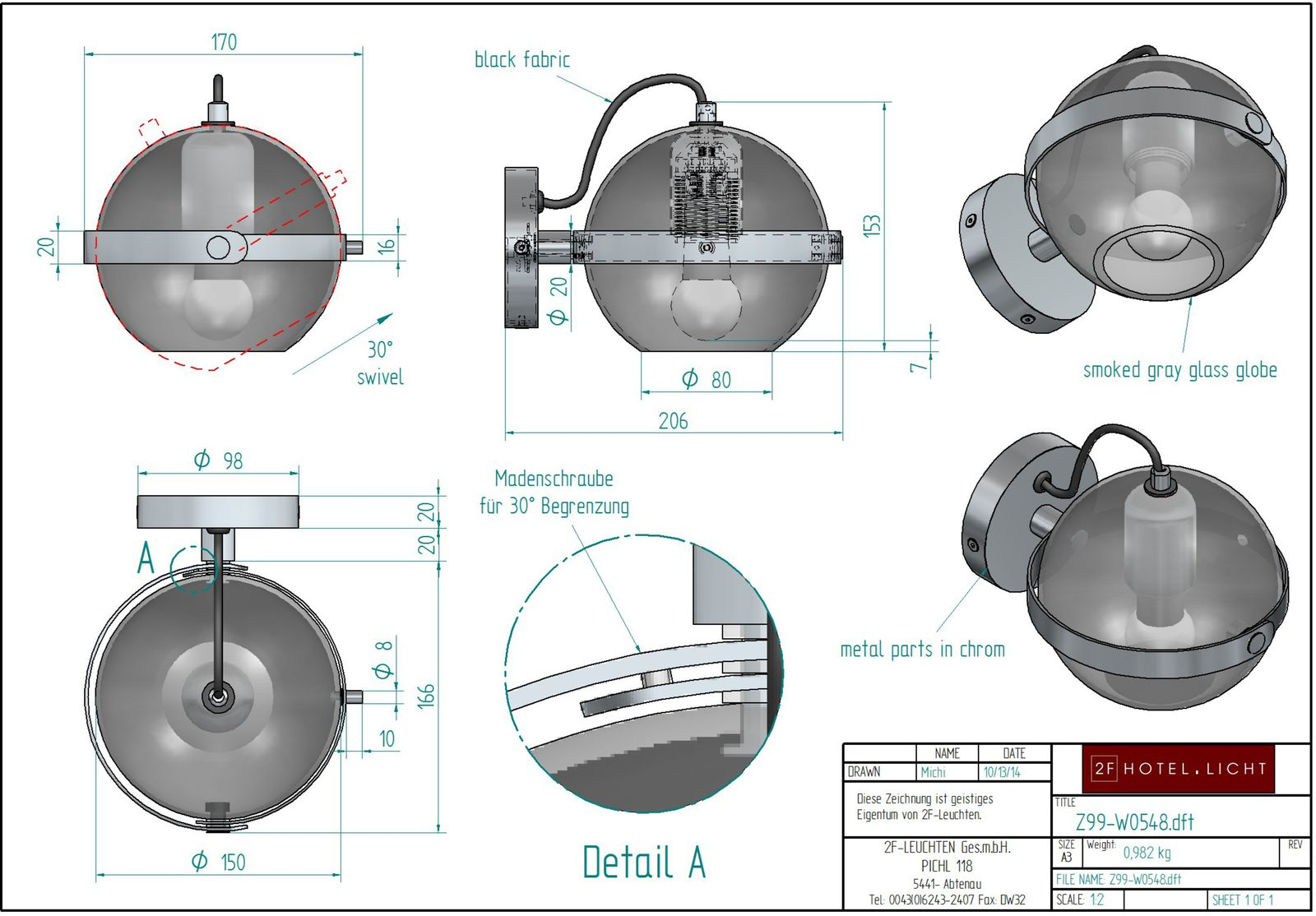wall, movable, smoked gray glass globe L:203, B:169, H:152 Metall:metal parts in chrom, Fassung: 1x E27,  Leuchtmittel: 1x max. 10W LED, Stecker: flat Europlug, Schalter: without switch Kabelfarbe: black fabric 1300mm