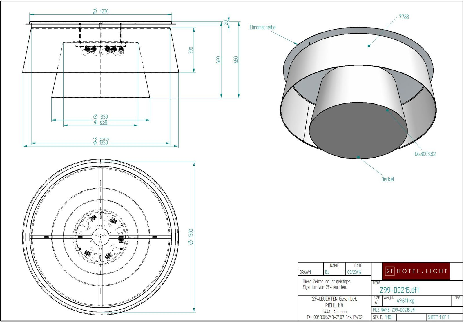 Ceiling Lamp, dimensions: L Ø1200mm, height=780mm, surface/colour: CR Chrom polished, RAL 9005, techn. Data: 5xE27, LED, 8,5W