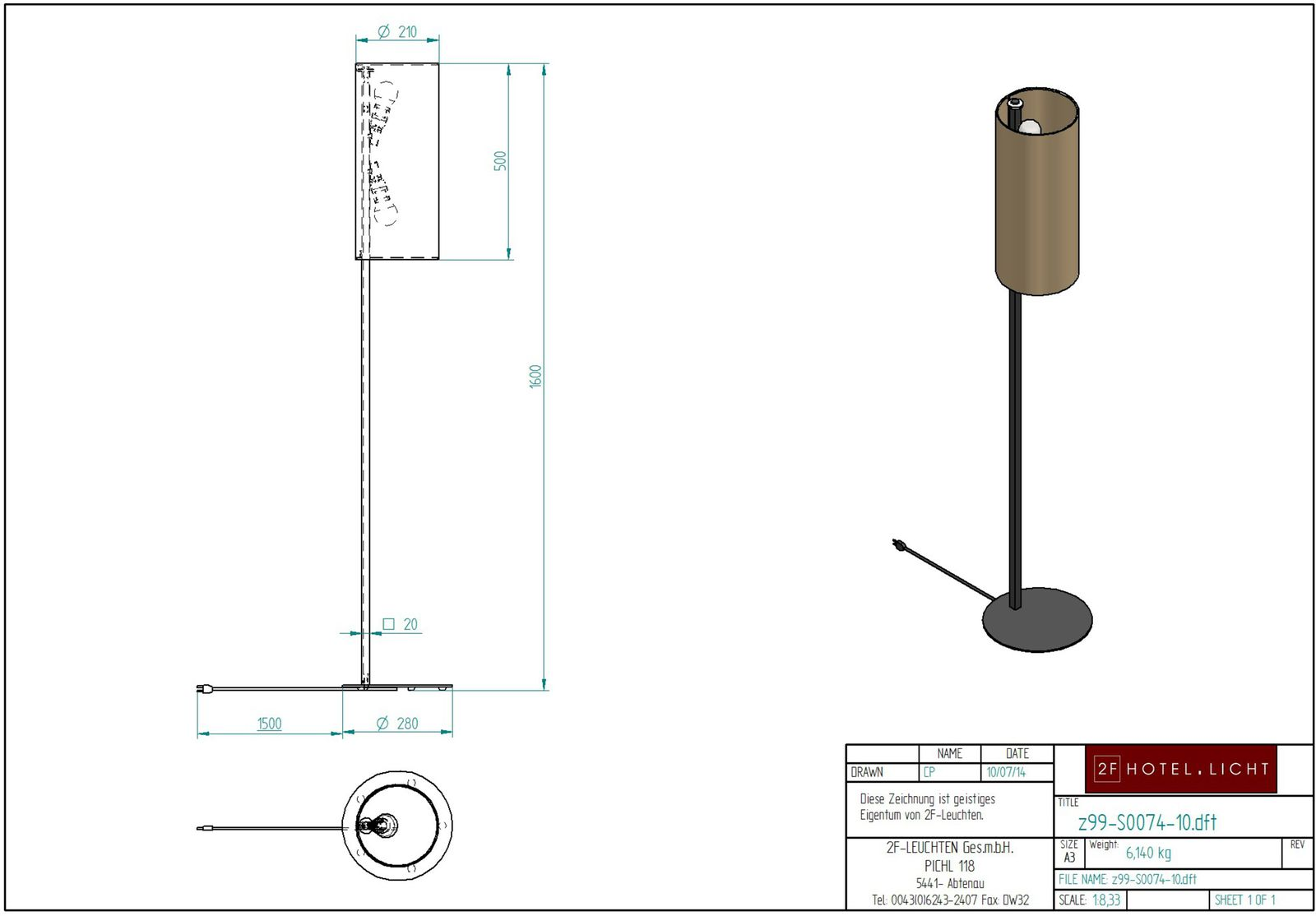 Floor lamp, l=Ø210mm, height=1600mm, without switch, surface metal: MO4 bronze, techn. Data: 2xE27, max. 42W, 230V, cable: black