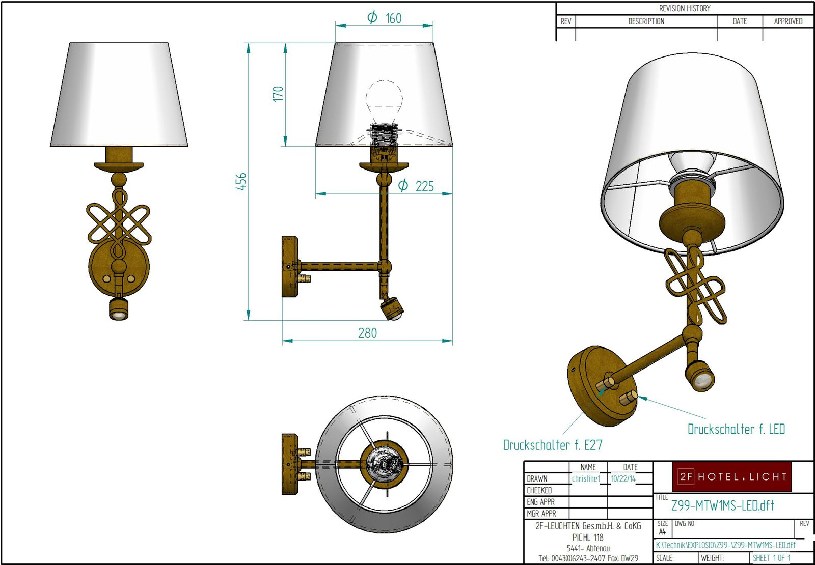 Wall lamp H=471 B=283 technical details: 1xE27 max. 60W