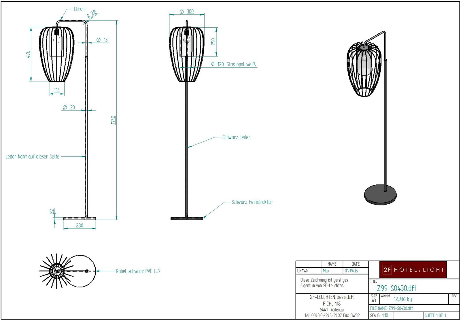 floor lamp, L:280mm, wide:400mm, H:1740mm, surface: Metall SWF black / Chrom, techn. Data: 1xE27, max. 10W LED A60 230V