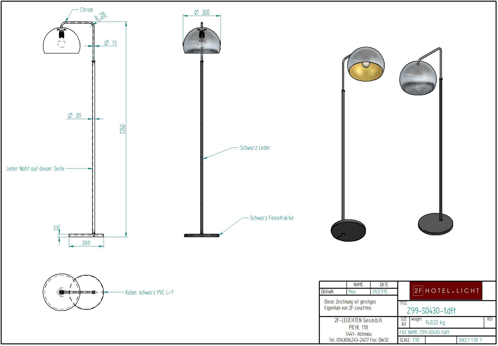 floor lamp, L:280mm, wide:400mm, H:1740mm, surface: metall swf - black, chrome, techn. Data: 1xE27, 10W LED A60, 230V