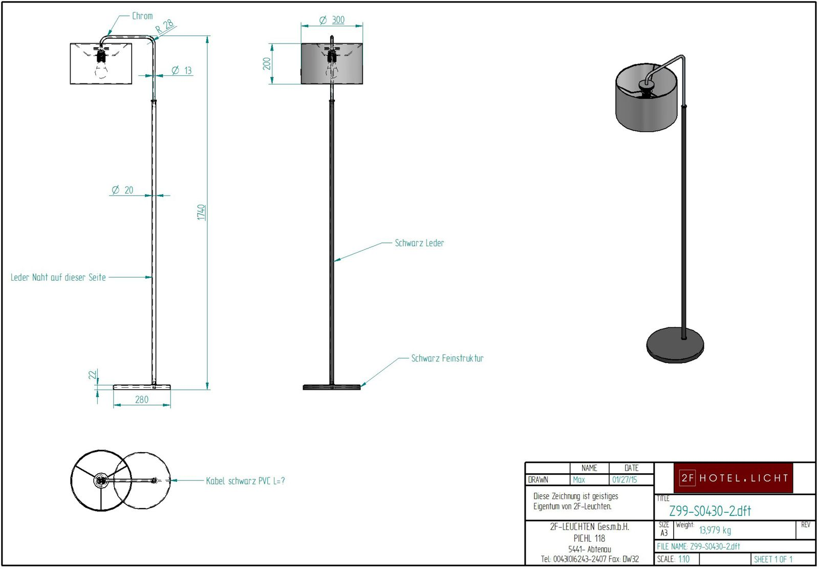 floor lamp, L:280mm, wide:400mm, H:1740mm, surface: metall SWF  black, chrome, techn. Data: 1xW27, max. 10W LED A60 230V