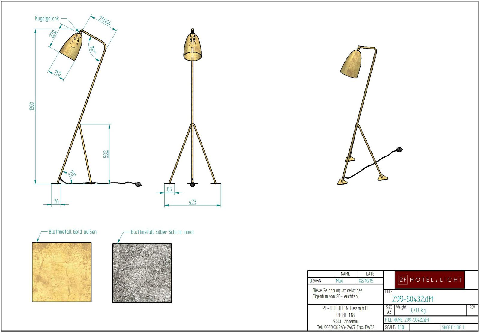 floor lamp, L:354mm, wide:364mm, H:1300mm, surface: metal, techn. data: E27, 28W, A60, 230V, cable colour: black