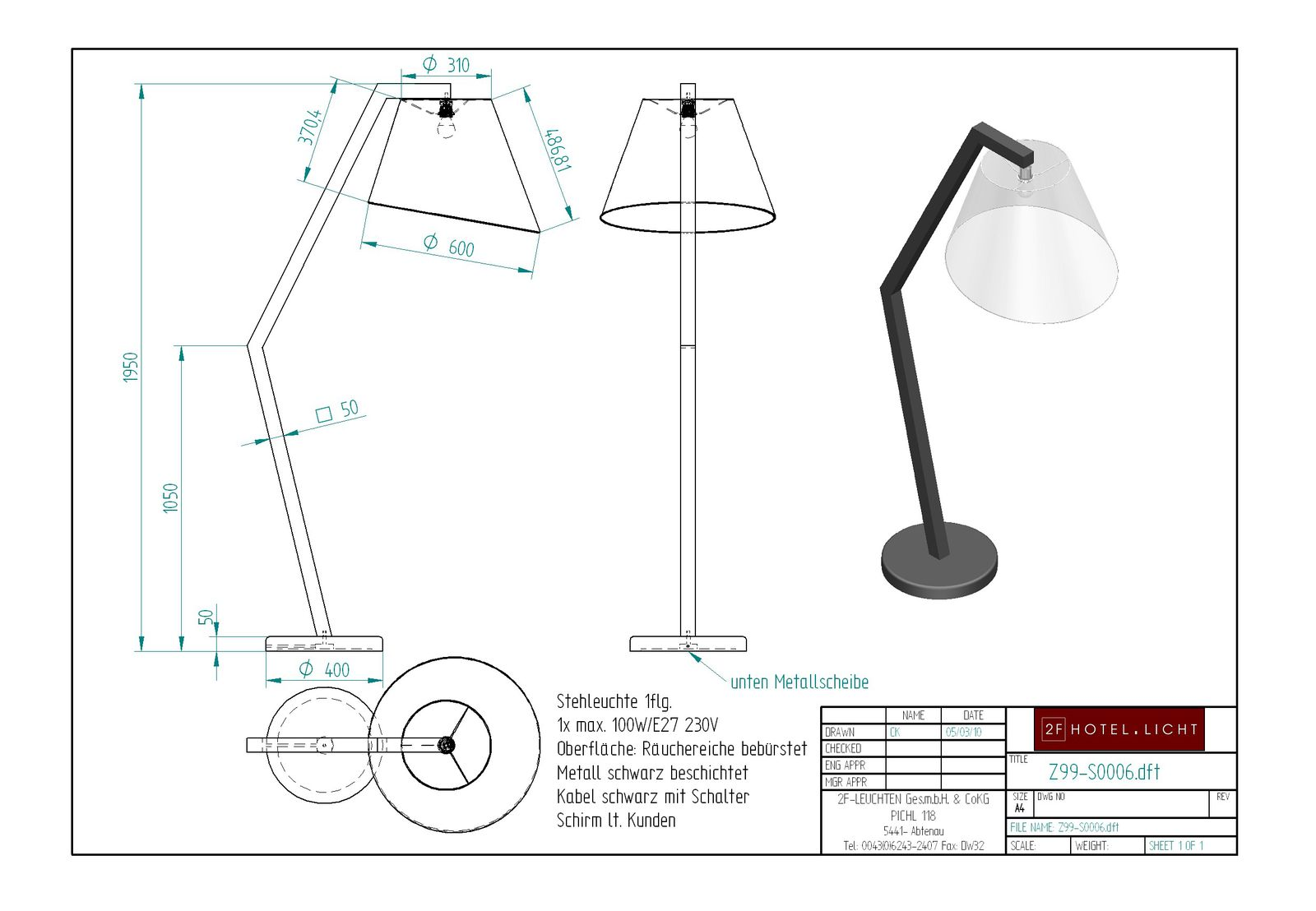 Floor lamp H=1950 technical details: 1xE27 max.100W