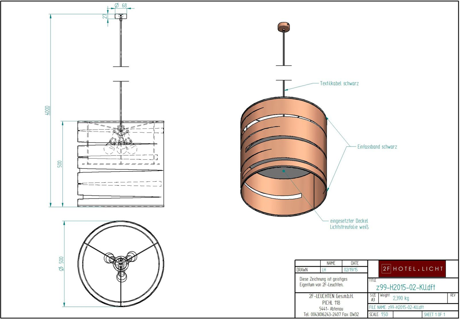 pendant, L: Ø500mm, wide: Ø500mm, H=4000mm, surface: metall CG Copper brushed, techn. Data: 3 x E27, 28W, not dimmable, cable textil black