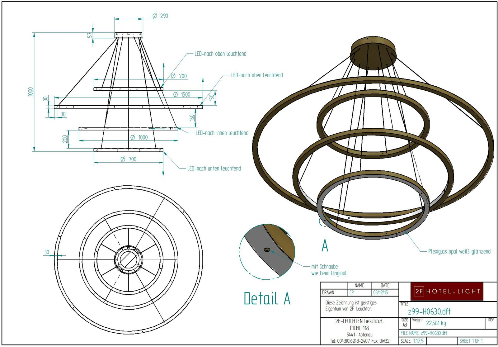 pendant with 4 rings with plexiglas white opal, L:Ø1500mm, H:1000mm, surface: MB brass, techn. Data: 26W LED strip, 3000K, 24V, switch: not dimmable