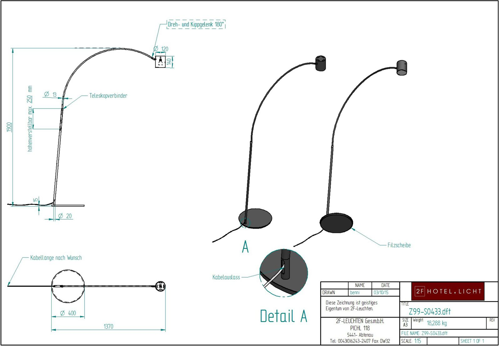 floor lamp, L:0400mm, w:~1440mm, H:~2200mm, surface: Metall SB softblack, techn. Data: GU10, LED 5W, switch: not dimmable, cable color: black