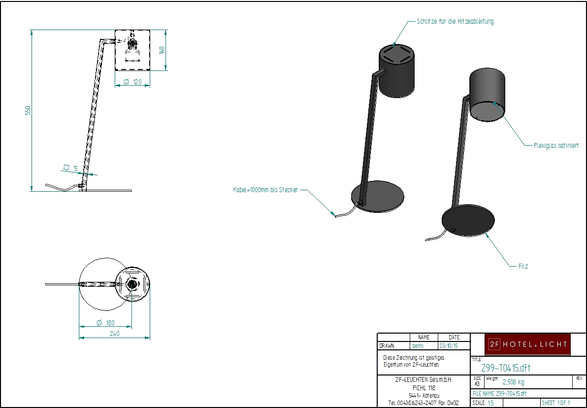 table lamp, L:Ø800mm, H.550mm, surface: Metal SB softblack, techn. Data: GU10, 5W LED, switch: not dimmable, cable color: black