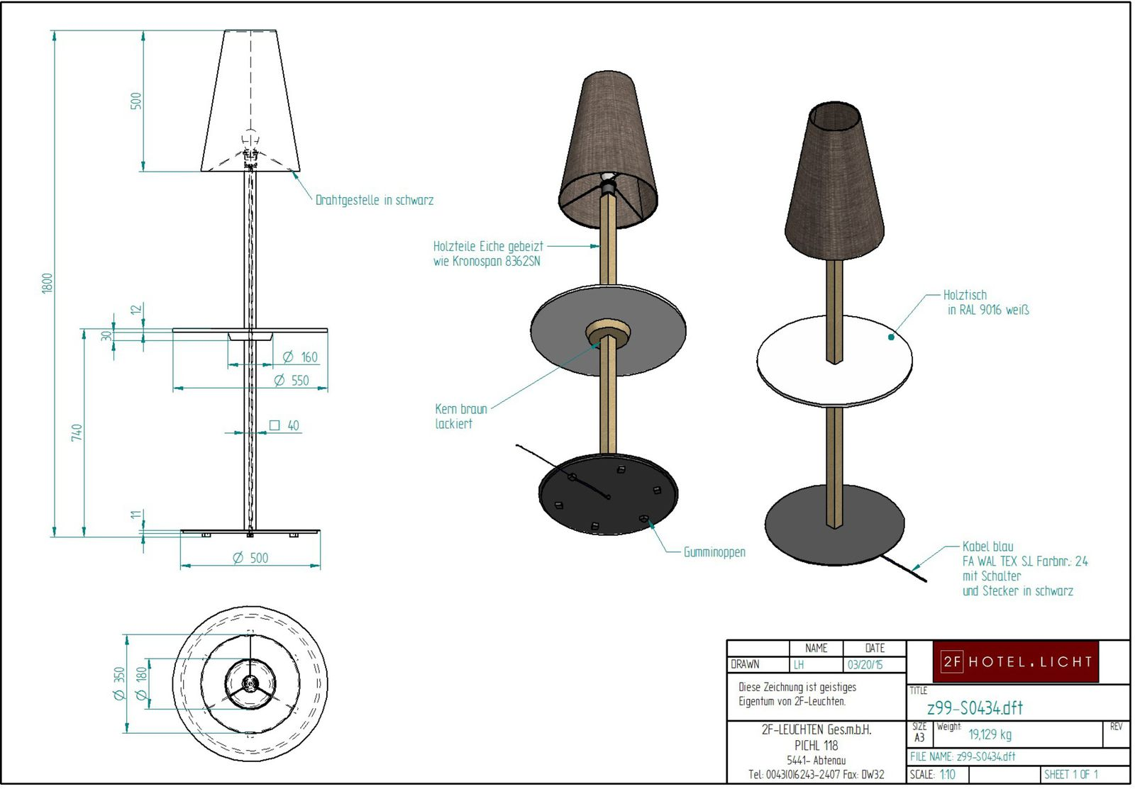 floor lamp with table, L:Ø550mm, H:1800mm, surface: Metal: SWM black, techn. Data: 1xE27, LED 10W 806lm 2700K,