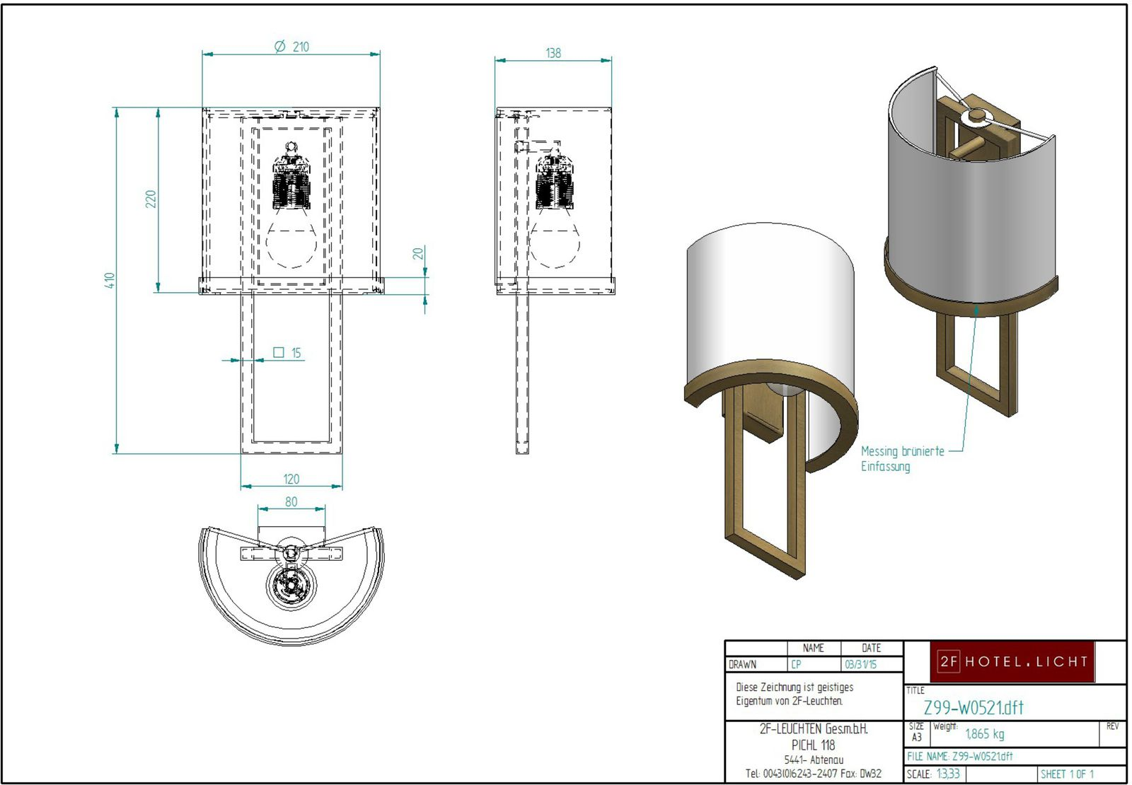 wall light, L:140mm, w:210mm, H.410mm, surface: metal MB brass, techn. Data: 1xE27, LED 10W 230V