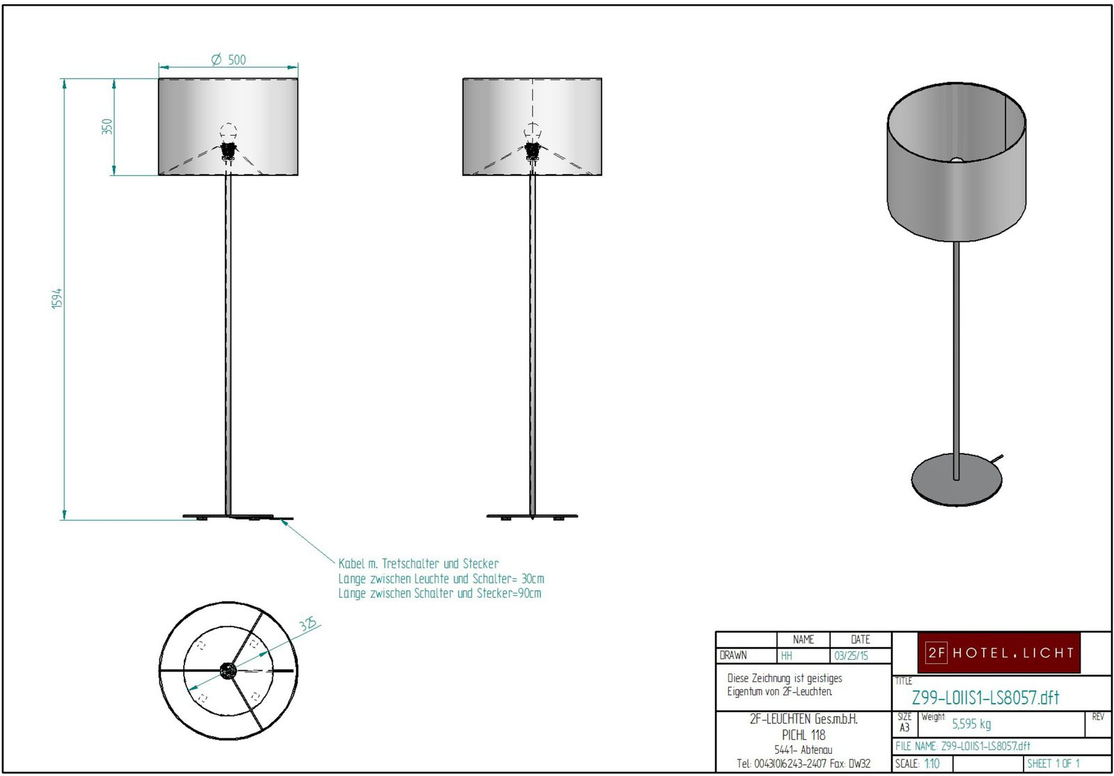 Floor lamp h=1600 b=460 technical data: 1xE27 max.100W