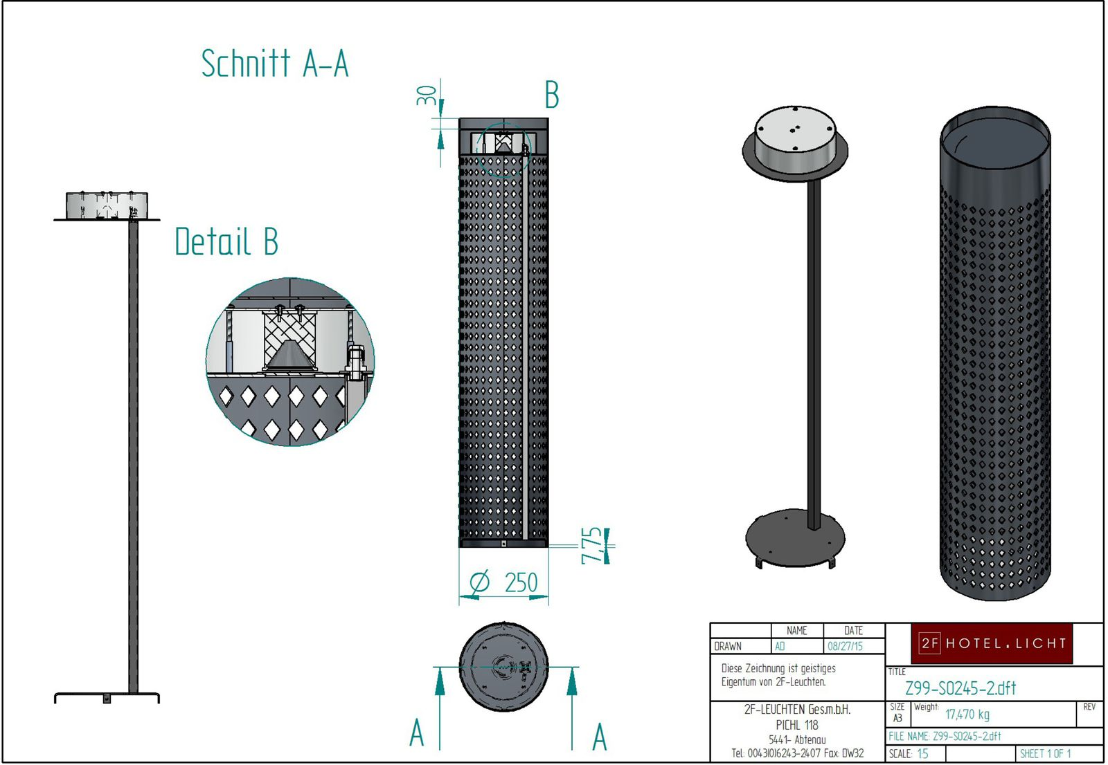 floor lamp, L:Ø250mm, H:1400mm, surface: metal anthrazit, techn. Data: LED, 10W LED 2700K DRI90+, switch: not dimmable