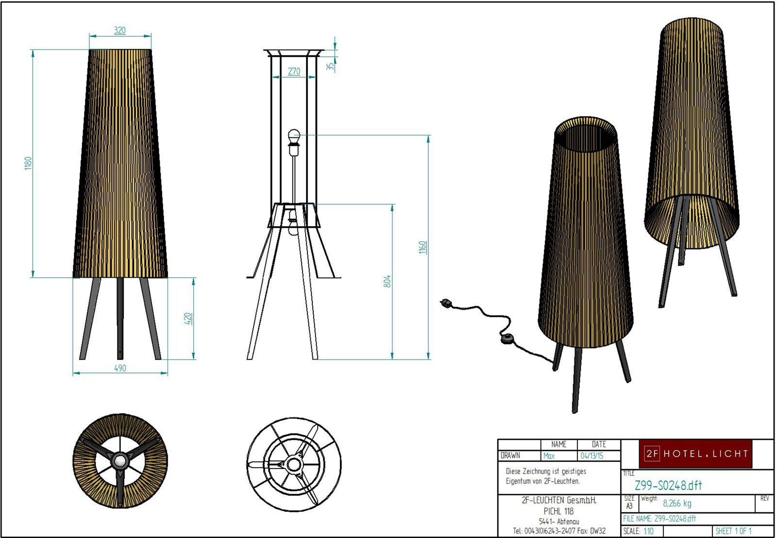 Floor lamp, L:Ø490mm, H:1600mm, surface: Metal black, techn. Data: 2xE27, 42W, cable color: black