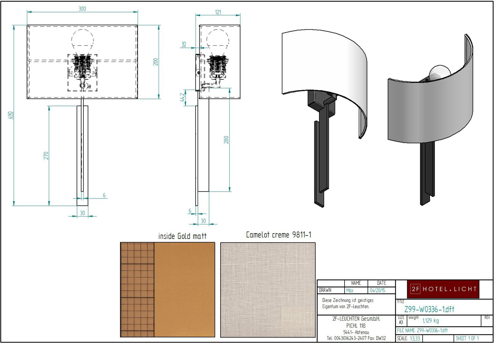 wall lamp, L:121mm, w:300mm, H:490mm, metall surface: M23, socket: 1xE27 illuminant: 1x max. 60W