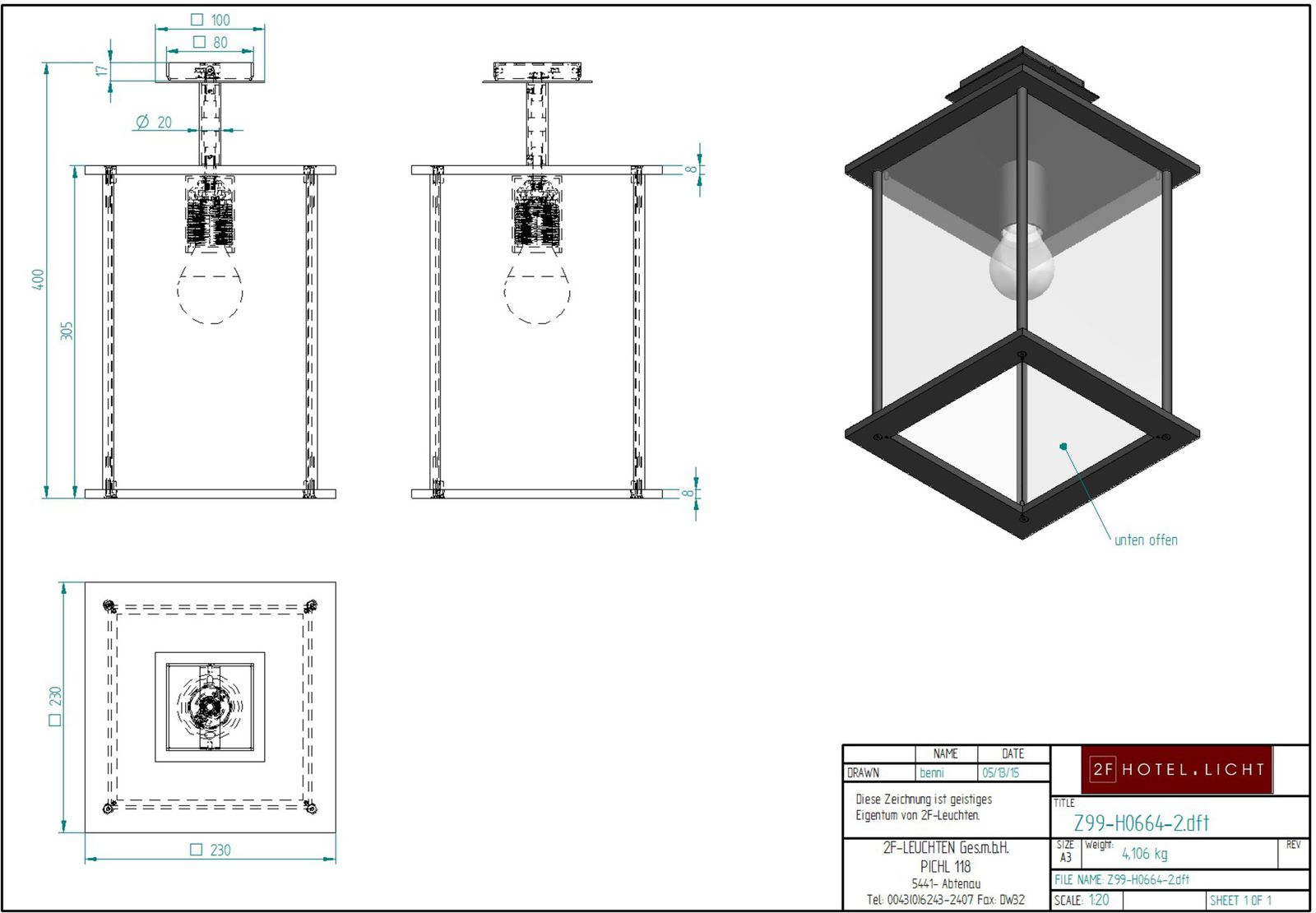 pendant, Latern with clear glass, L=230mm, W=230mm, H=400mm, surface: metal SB softblack, techn. Data: 1xE27, max. 42W / 10W LED