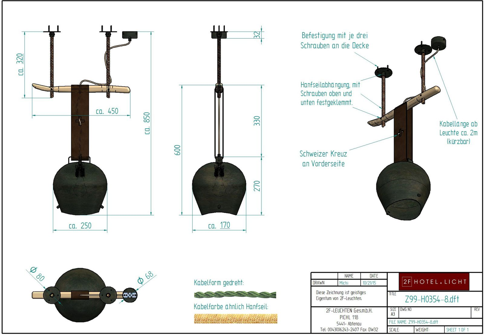 pendant with bell (250x170x270mm), L: ~450mm, wide: ~170mm, H: ~850mm, surface: Metal RO, techn. Data: 1xE27 42W, 230V, dimmable