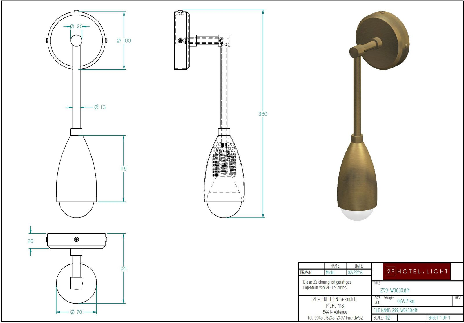 wall, L:100, B:120, H:360 surface metal: brushed brass, socket: 1x E27, bulb: 1x E27 max. 20W / 230V, triac dimmable