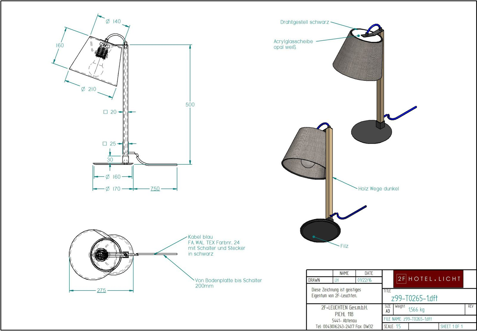 table lamp, dimensions: Ø 160mm, W:275mm, H:500mm, surface: metall SWM black, techn. Data: 1xE27, LED 10W, 827, 470lm, 2700K,