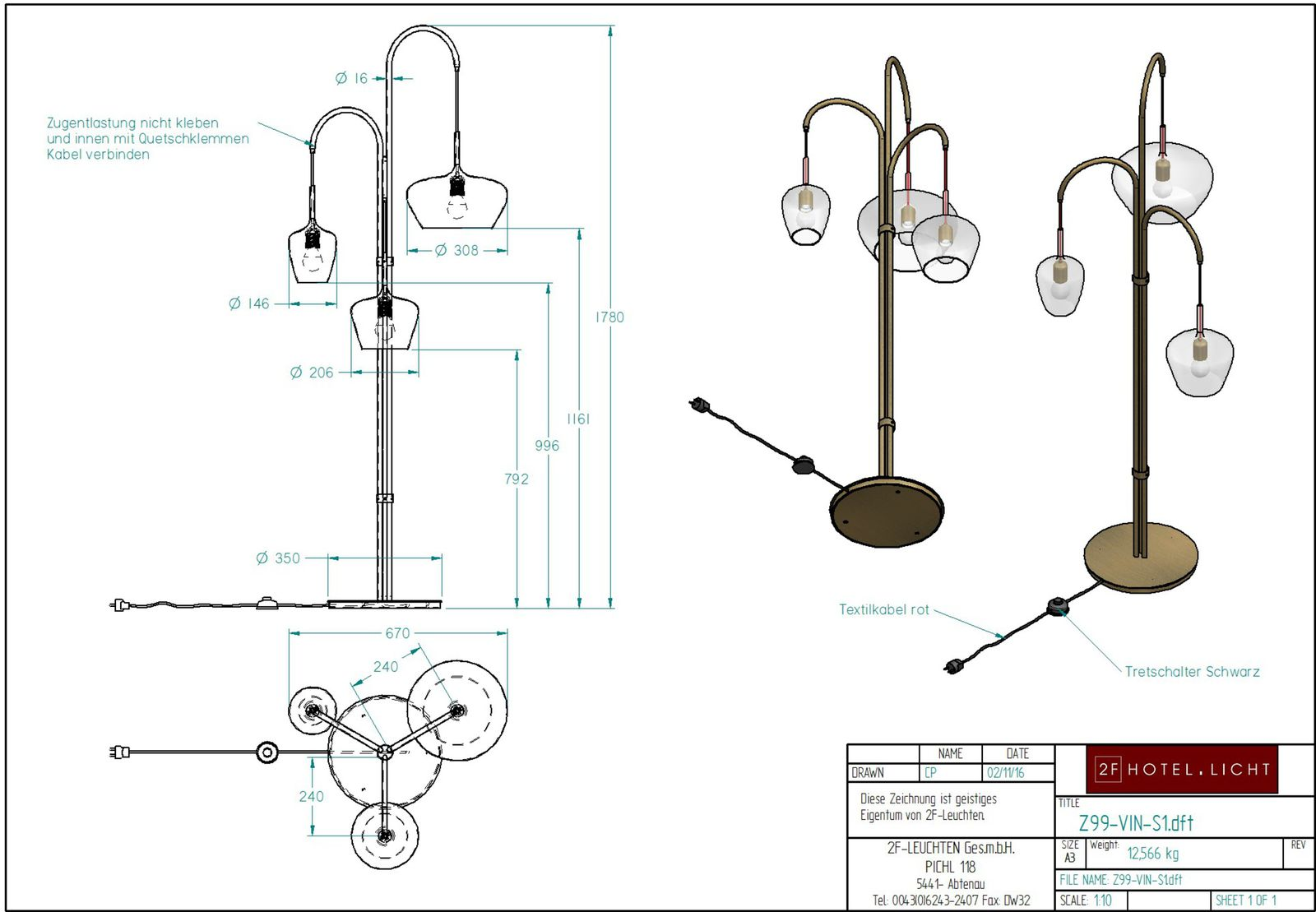 floor lamp Pure Vino, dimensions: L:670mm, H:1780mm, surface: burnisched brass, techn. Data: 3xE27, 42W 230V