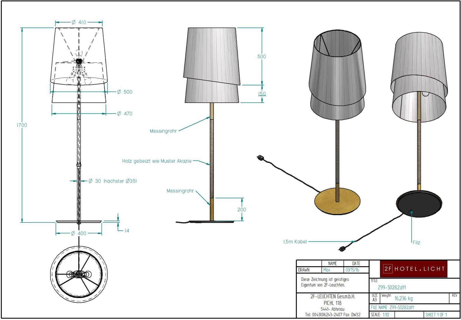 floor lamp, dimensions: L:500mm, W:500mm, H:1700mm, surface metal: M47, brass antique burnished, techn. Data: 3xE27, 70W 230V, cable color: black
