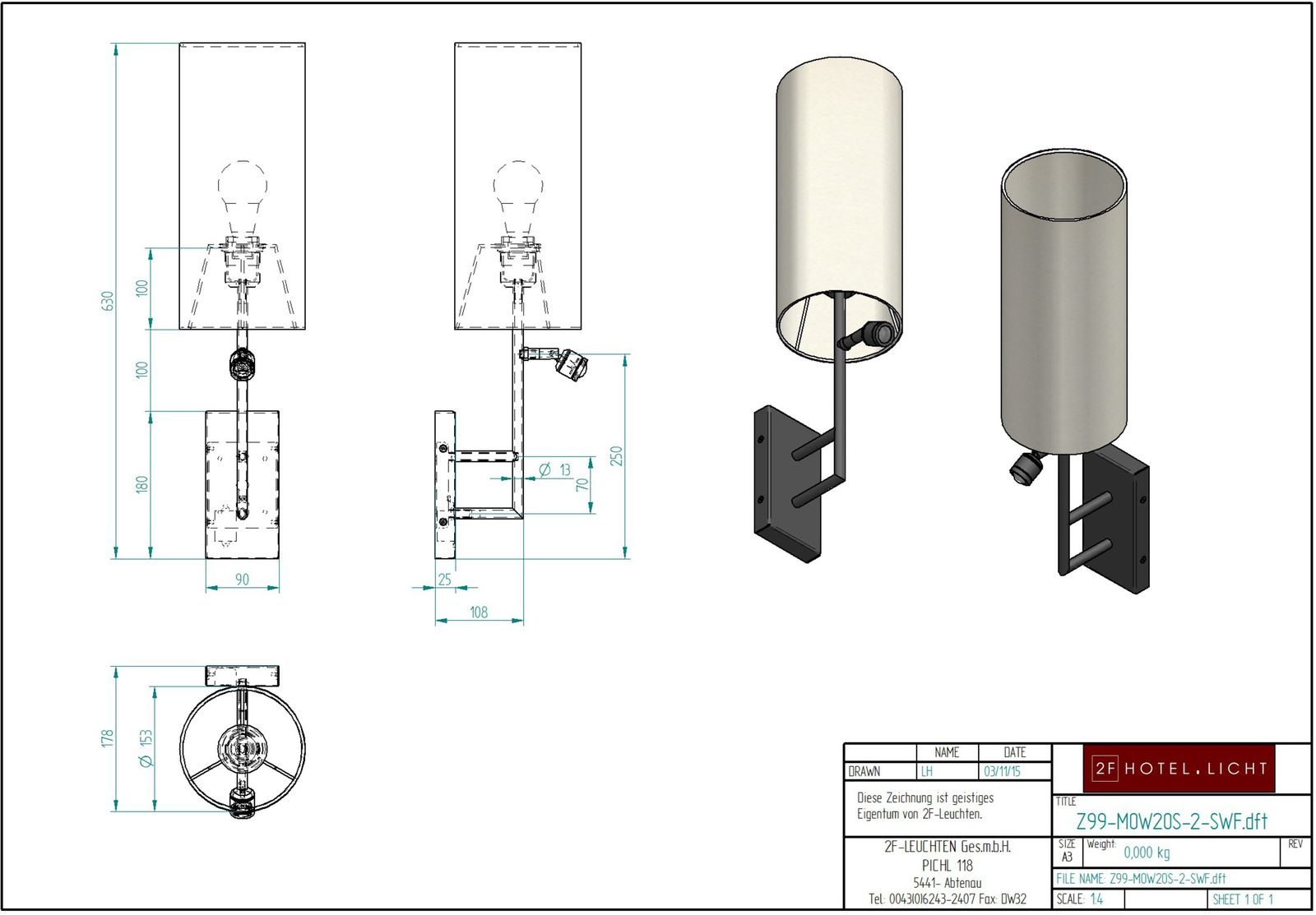 wall lamp, height=425mm, wide=240mm, surface: polished brass, technical details: 1xE27 60W