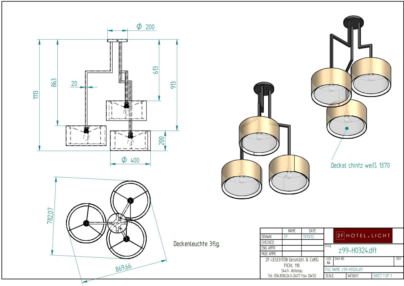 Pendant lamp, lenght=diameter 900mm, height=1113mm, surface: ABR antique brown, techn. details: 3xE27, 52W, 230V