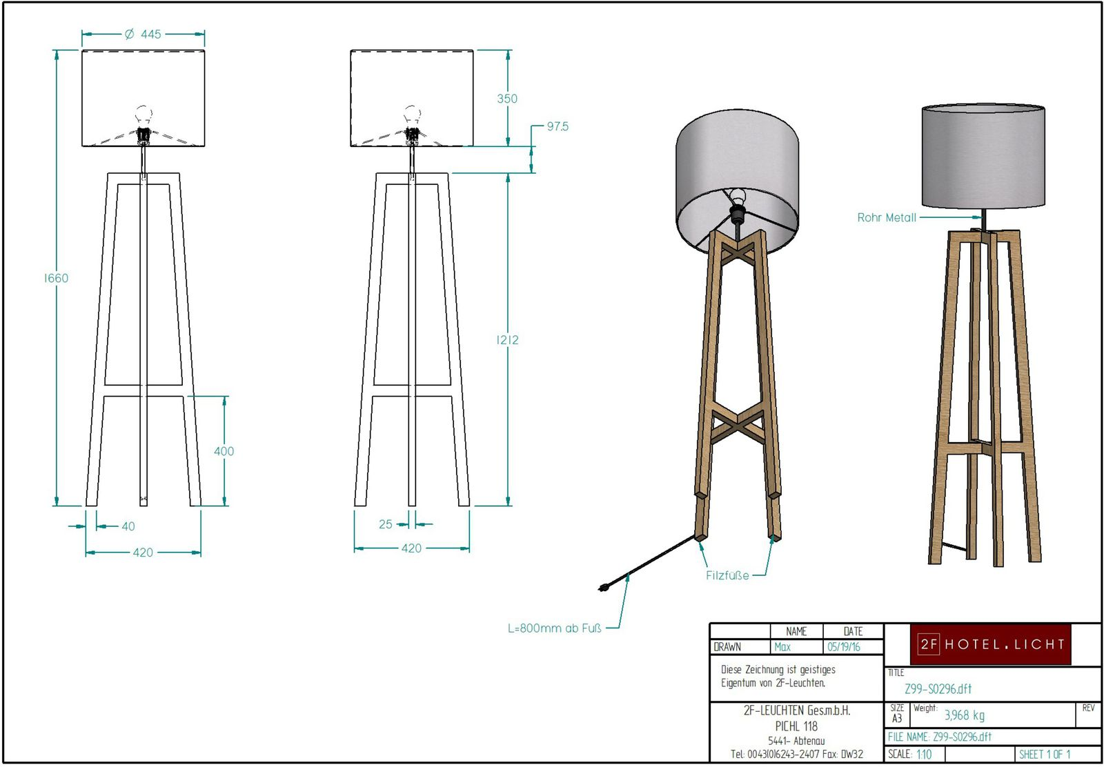 floor lamp, L:420mm, W:420mm,H:1600mm, surface: metall SWM-black matt, techn. Data: 1xw27, LED 9W 2700K / 230V, cable color: textil black
