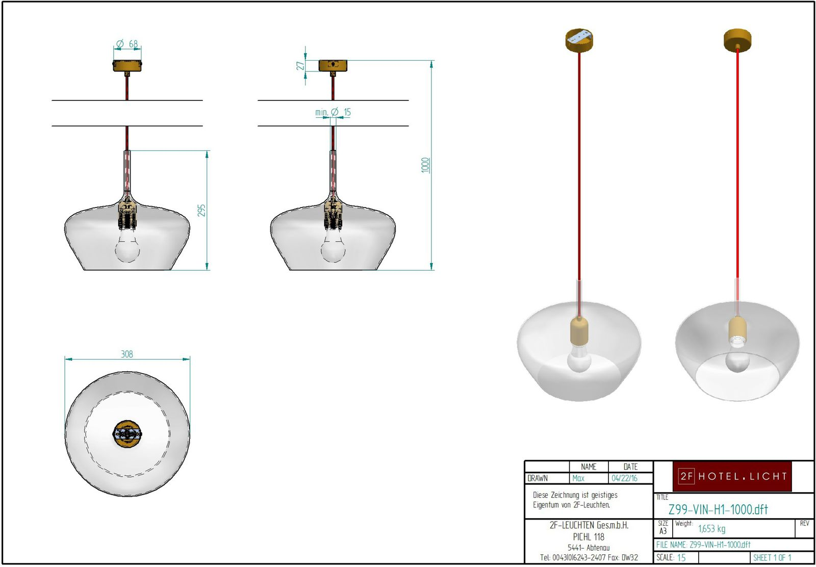 Pendant light, PURE VINO Measures: Ø308mm, totalheight: 3000mm Surface: Glass, Brass antik, cable: red Techn. data: 1xE27 LED