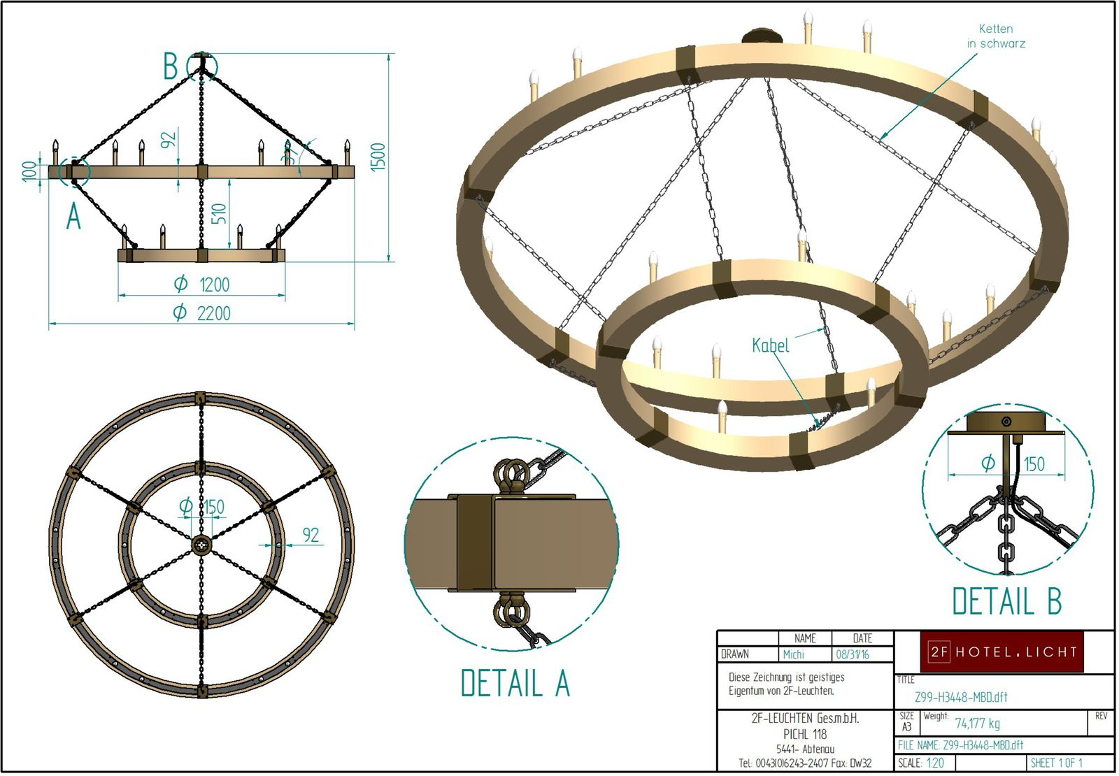 Pendant lamp, height=1500mm, wide=2200mm, surface: brushed oak, rust, black cable, weight=65kg, techn. details: 18xE14