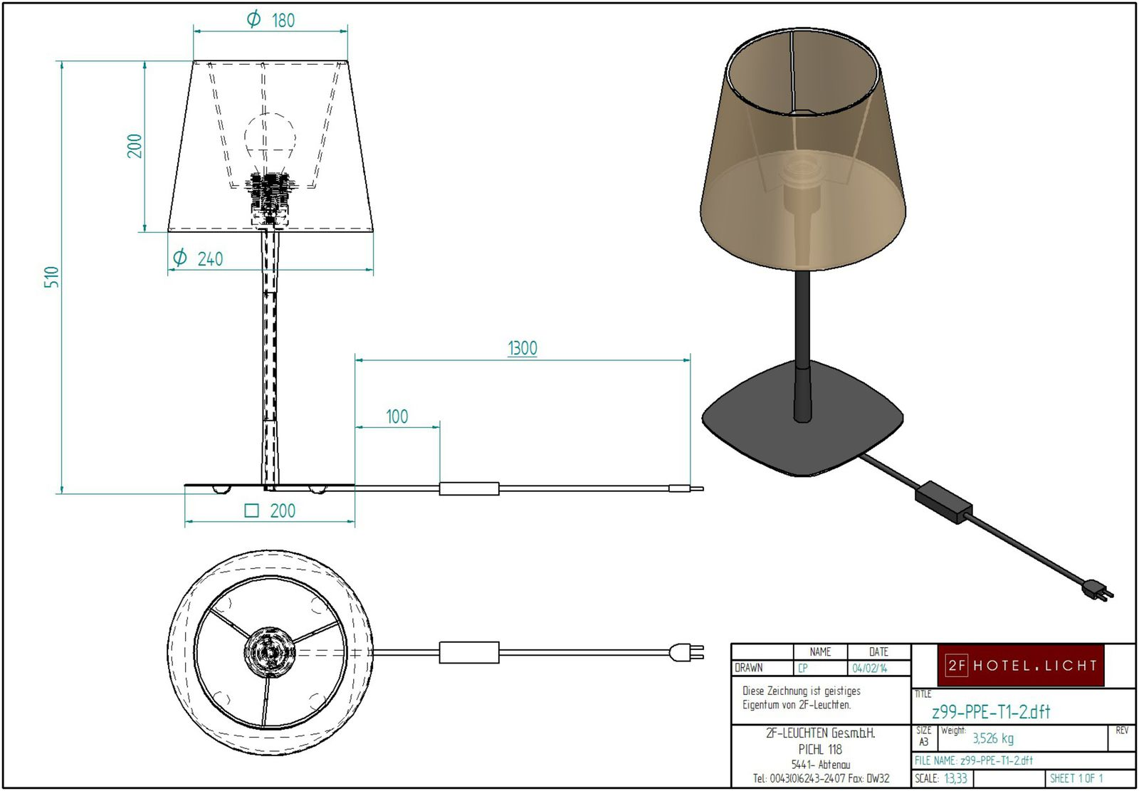 Table lamp Pure Pepple, height=400mm, wide=200mm, softblack, techn. details: 1xE27, max. A60 60W