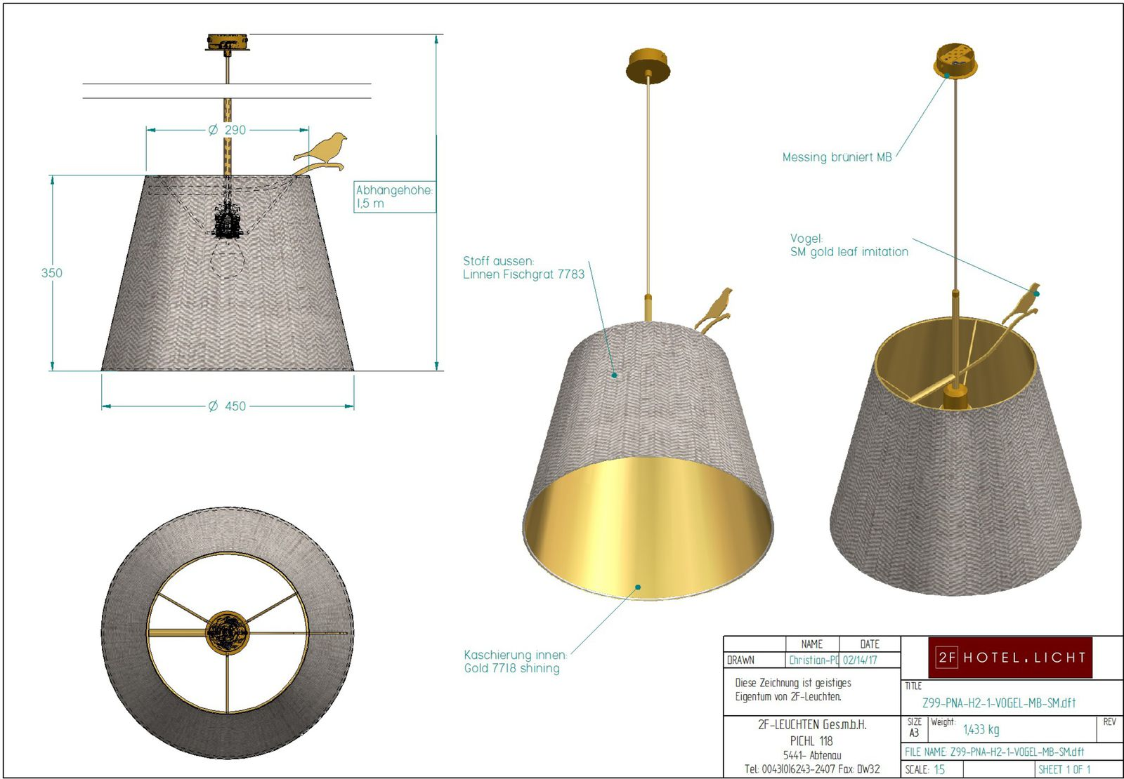 pendant, Pure Nature Vogel ohne Gewicht L:450, in MB, Vogel in SM Oberfläche Metall:MB brass antik /Vogel: SM gold leaf imitation, Fassung: 1x E27,  Leuchtmittel: max.  42W 230V,  Kabelfarbe: Textil gold gedreht