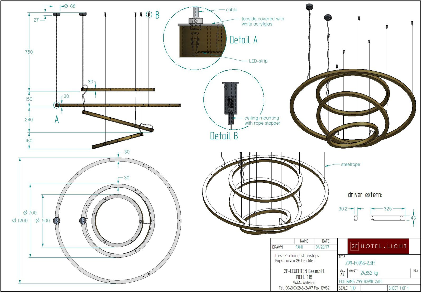 pendant, rings L:Ø1200, H:1300 Oberfläche Metall:Bronze / MB2 as sample, Fassung: LED-Strip,  Leuchtmittel: LED-Strip 113W/24V inkl. Driver,  Schalter: dali or phasecut dimmable? costs? Kabelfarbe: transparent