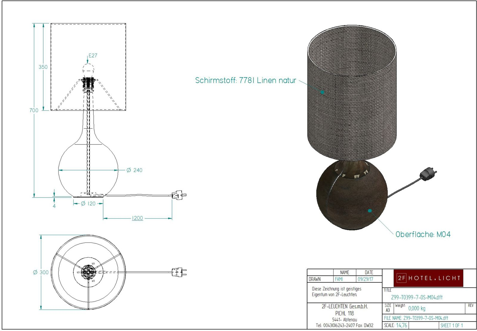 table L:300, B:300, H:700 1x E27, 230V max.75W, Phase, IP20 PVC cable black, Eurostecker, without switch M04 Antique bronze